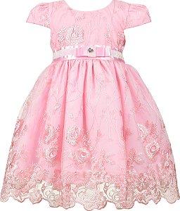 Vestido Infantil Renda Rosa com Laço