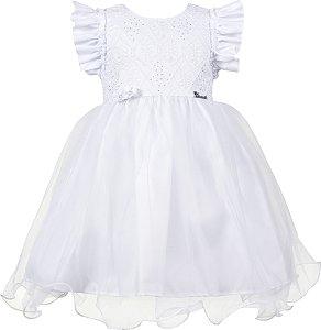 Vestido Infantil Branco saia de tule