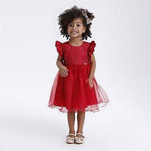 Vestido Infantil vermelho com saia de tule