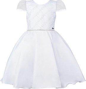 Vestido Juvenil Branco com Bordado e Strass