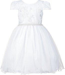 Vestido Teen Branco com Renda e Saia de Tule