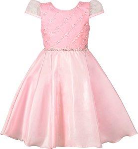 Vestido Juvenil Rosa com Bordado e Strass