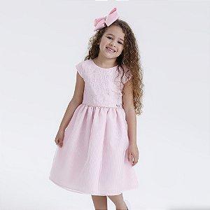 Vestido Juvenil Rosa com Bordado de Borboletas