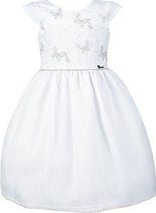Vestido Juvenil Branco com Bordado de Borboletas