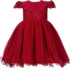 Vestido Infantil Vermelho com bordado de flores 3D na manga