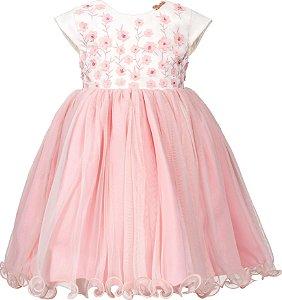 Vestido Infantil Rosa com bordada de flores 3D no peito