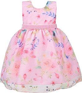 Vestido Infantil Floral Rosa com Cinto de Pérolas