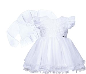 Vestido Bebê de Batizado com Bordado no Peito e bolero de Plush