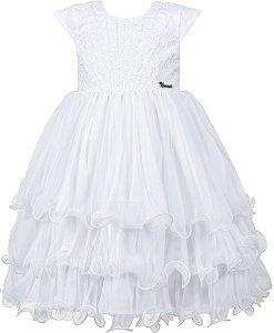 Vestido Infantil Branco com Babados