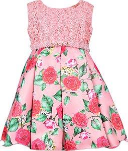 Vestido Infantil Rose com Renda e Saia Floral