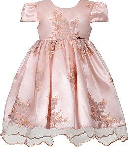 Vestido Infantil Salmão de Tule Bordado