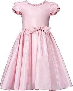 Vestido Juvenil Rosa com Gola de Pérolas