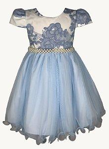 Vestido Infantil Azul com Renda