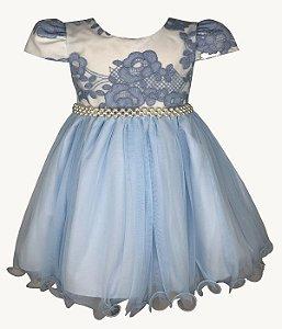 Vestido Bebê Azul com Renda