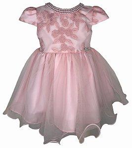 Vestido de Bebê Rosa de Renda e Saia de Tule