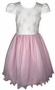 Vestido Juvenil Saia de Tule Rosa e Peito com Bordado