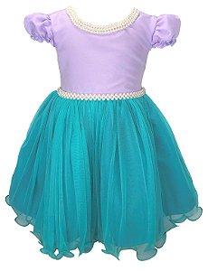 Vestido Infantil Sereia com Colar de Pérolas