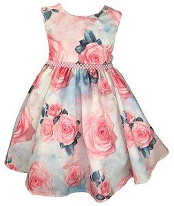 Vestido Infantil Floral Azul e Rosa