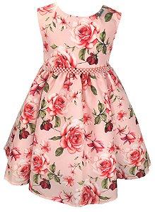 Vestido Infantil Floral Salmão