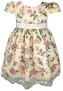 Vestido Infantil de Renda com Cinto de Flores