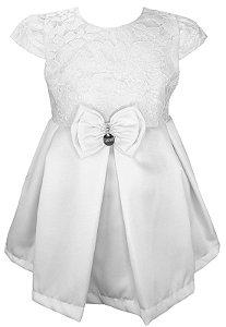 Vestido Bebê Branco de Renda com Laço