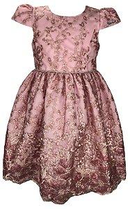 Vestido Juvenil Rosa de Renda com Paetê