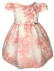 Vestido Infantil Rosa e Branco de Renda