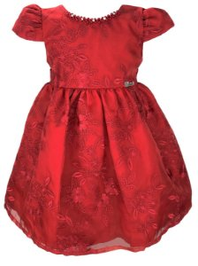 Vestido Infantil Vermelho de Renda