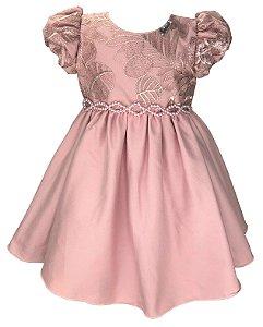 Vestido Infantil Rose com Peito de Renda