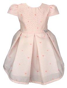 Vestido Bebê Rosa de Corações