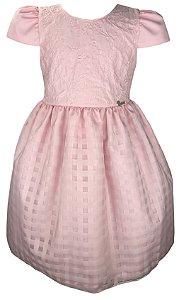 Vestido Juvenil Rosa com Bordado e Saia Quadriculada