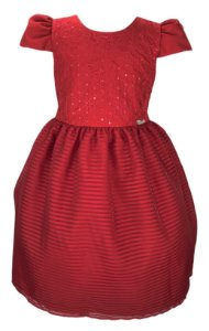 Vestido Juvenil Vermelho com Bordado e Saia Quadriculada