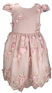 Vestido Juvenil Rosa de Renda com Flores