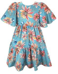 Vestido Juvenil Azul Turquesa Floral