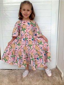 Vestido Juvenil Estampa Tropical