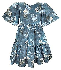 Vestido Teen Floral Azul