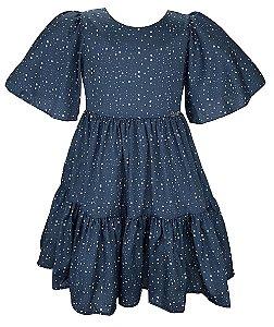 Vestido Teen  Azul com Estrelas