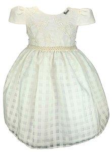 Vestido Infantil Cru Bordado Borboletas