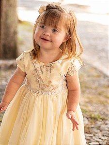 Vestido Infantil Amarelo Peito Renda Flores