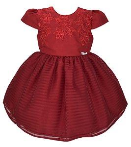 Vestido Bebê Vermelho Saia Quadriculada