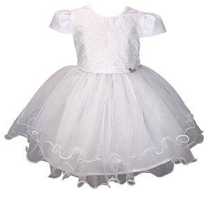 Vestido Bebê Branco Saia de Renda Floral