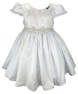 Vestido Infantil Branco Renda e Laço de Pérolas