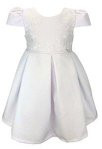 Vestido Infantil Branco Com Saia de Pregas