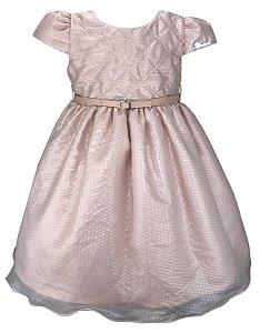 Vestido Infantil Nude com Cinto de Couro