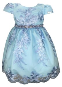 Vestido Infantil Azul de Renda e Cinto de Strass