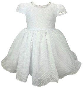 Vestido Bebê Branco com  Colar de Pérolas