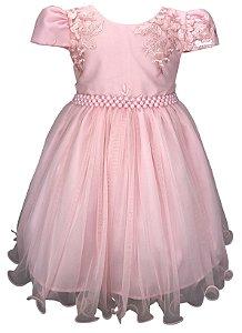 Vestido Infantil Rosa com Peito de Renda
