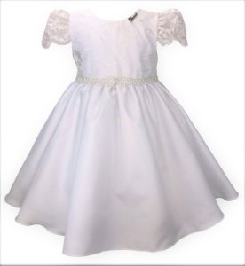 Vestido Infantil Branco com Peito e Manga de Renda