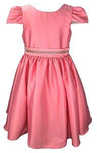 Vestido Juvenil Rosa com Strass no Cinto