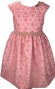 Vestido Juvenil Rosa de Renda e Cinto de Pérolas